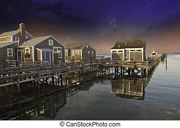 Homes over Water in Nantucket at Sunset, Massachusetts