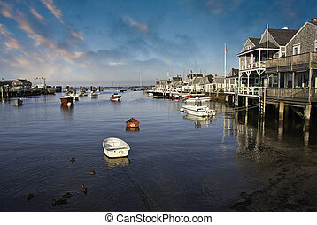 Homes over Water in Nantucket at Sunset, Massachusetts