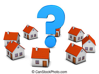 Blue question mark with houses on the white backround.