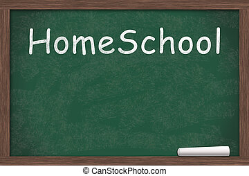 Chalkboard with text of Home School with a piece of chalk with copy-space