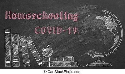 Lettering Homeschooling COVID-19, rotating globe and school books are drawn with chalk on a blackboard.
