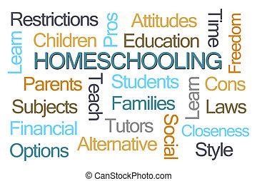 homeschooling, palavra, nuvem