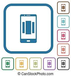 homescreen, iconos, móvil, arriba, simple, ajuste