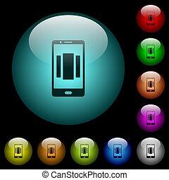 homescreen, iluminado, iconos, móvil, arriba, botones,...