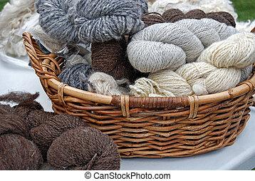 Homespun - Yarn in a basket.