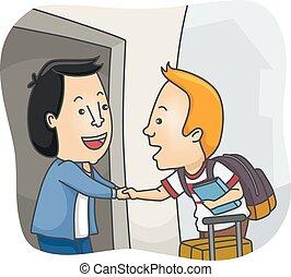 homestay, bienvenida, estudiante, hombre