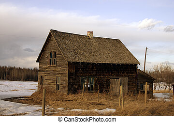 An abandoned homestead on the Canadian prairies.