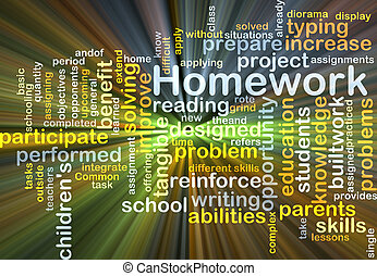 Homework background concept glowing
