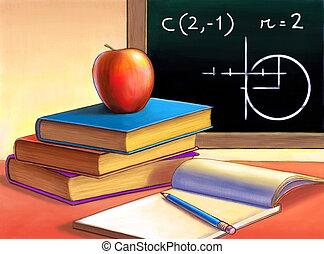 Homework - Books, apple and notepad. Digital illustration.