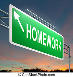 Illustration depicting a roadsign with a homework concept. Sunset background.