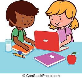 homework., estudiantes, ilustración, su, vector, escritorio