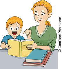 Homework Help - Illustration of a Caucasian Mother Helping...
