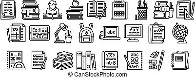 Homework icons set, outline style - Homework icons set. ...