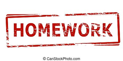 Rubber stamp with text homework inside, vector illustration