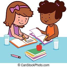 homework., scholieren, illustratie, hun, vector, bureau