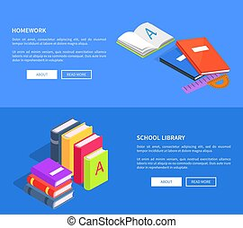 Homework School Library Vector Posters with Books