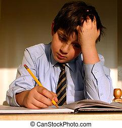 Schoolboy studying in his bedroom