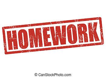 Homework stamp - Homework grunge rubber stamp on white,...
