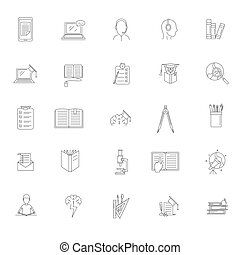 Homework study school icons set, outline style