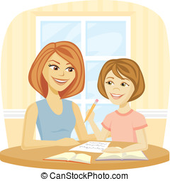 Homework Time - A Mom helping her daughter with homework or...