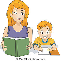 Homework Time - Illustration of a Mother Helping Her Son...