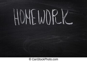 homework word on blackboard
