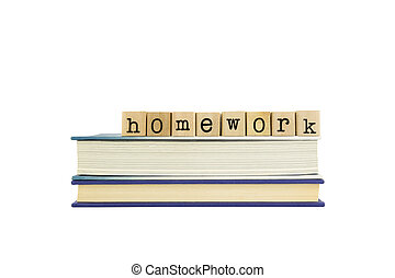 homework word on wood stamps and books - homework word on...