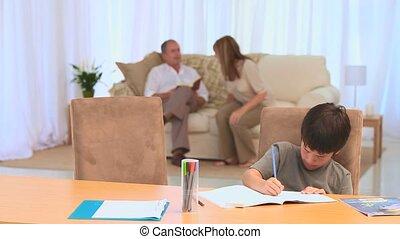 homeworks, agréable, sien, garçon, foncé-d'une chevelure