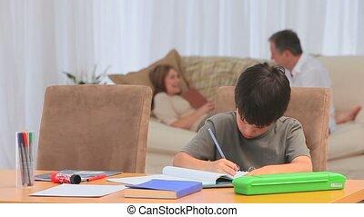homeworks, garçon, sien, adorable