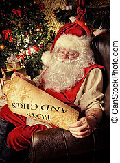 homey look - Santa Claus dressed in his home clothes sitting...