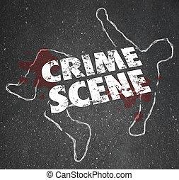 homicidio, asesinato, área, prohibido, escena, crimen,...