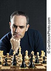 homme, à, échecs abordent