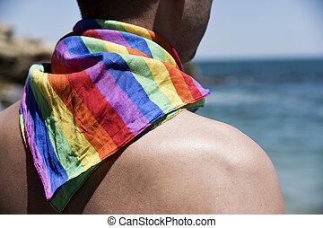 homme, à, a, arc-en-ciel, drapeau, devant, les, océan
