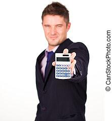 homme, à, a, calculatrice