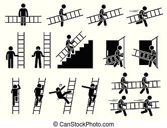 homme, à, a, ladder.