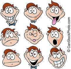 homme, à, beaucoup, expressions faciales