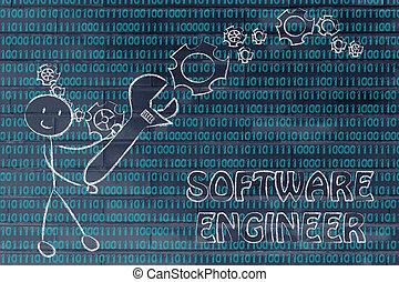 homme, à, clé, s'établir, code binaire, logiciel, ingénieur, travaux