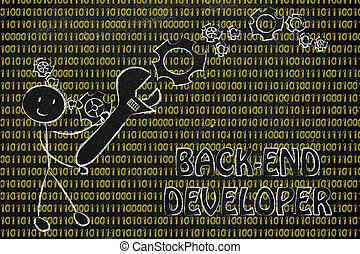 homme, à, clé, s'établir, code binaire, logiciel, révélateur, travaux