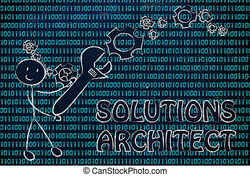 homme, à, clé, s'établir, code binaire, solution, architecte, travaux