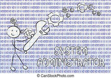 homme, à, clé, s'établir, code binaire, système, administrateur, travaux