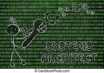 homme, à, clé, s'établir, code binaire, systèmes, architecte, travaux