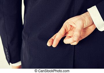 homme, à, doigts traversés