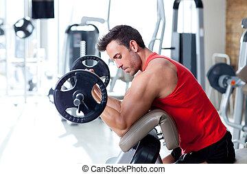 homme, à, formation poids, équipement, sur, sport, gymnase
