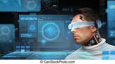 homme, à, futuriste, lunettes, et, sensors