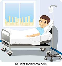 homme, à, lit hôpital
