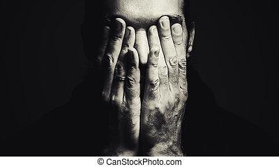 homme, à, mains visage
