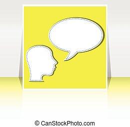homme, à, parole, bulles, sur, sien, tête, vecteur, illustration