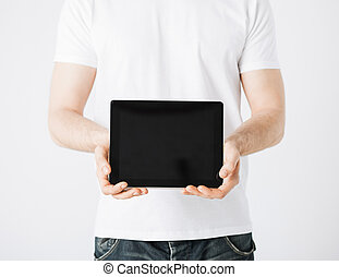 homme, à, pc tablette
