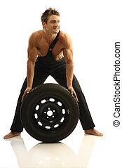 homme, à, pneus
