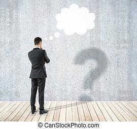 homme, à, question, et, nuage pensée